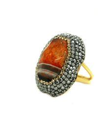 Soru Jewellery - Laced Orange & Black Agate Ring Gold - Lyst