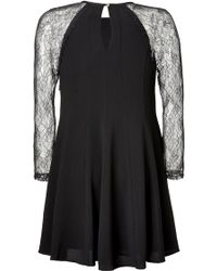 Juicy Couture Crepe Dress with Lace Sleeves - Lyst