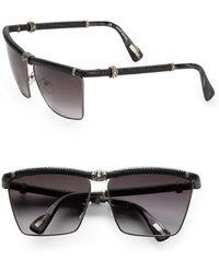 Lanvin Snake-Embossed Leather-Trim Square Sunglasses/Black - Lyst