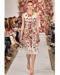 Oscar de la Renta Dégradé Poppy Print Silk Dress - Lyst