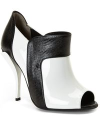 Fendi Sculpted Peep Toe Booties - Lyst