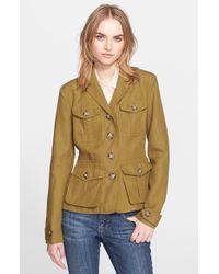 Burberry Brit 'Symdale' Linen Four Pocket Jacket yellow - Lyst