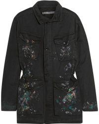 Raquel Allegra Paint-splattered Cotton Jacket - Black