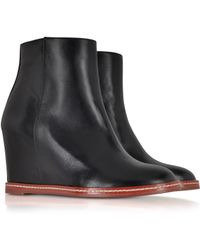 MM6 by Maison Martin Margiela Black Leather Ankle Boot