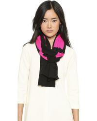Lisa Perry Big Love Wool Scarf - Black/Hot Pink - Lyst