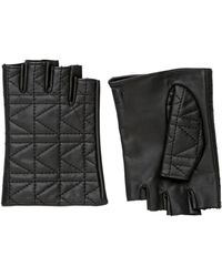 Karl Lagerfeld - Kuilted Nappa Leather Fingerless Gloves - Lyst