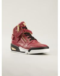 Versace Zipped Hitop Sneakers - Lyst