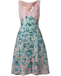 Lela Rose Flower Cloqué Flared Silk-Blend Dress - Lyst