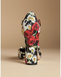 Dolce & Gabbana | T-strap Brocade Court Shoes With Embroidery | Lyst
