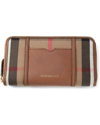 Burberry 'Nova Check' Zipped Up Wallet - Lyst