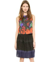 Milly Floral Print Seamed Shell  Multi - Lyst