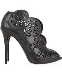 Alexander McQueen Lebus Leather Flower Bootie - Lyst