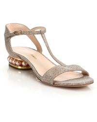 Nicholas Kirkwood | Casati Pearl-trim Lurex T-strap Sandals | Lyst