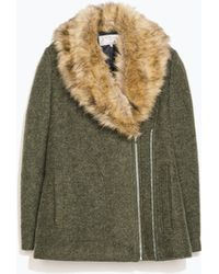 Zara Coat with Detachable Fur Collar - Lyst