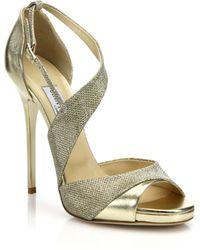 Jimmy Choo Tyne Asymmetrical Leather & Lurex Sandals gold - Lyst