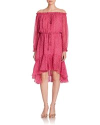 Diane von Furstenberg Camila Off-The-Shoulder Silk Dress - Lyst