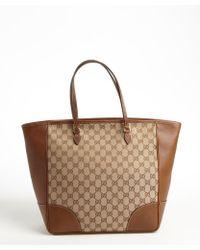 Gucci Beige Leather Trim Gg Canvas Tote - Lyst