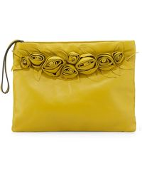 Valentino Leather Flower Large Wristlet Bag - Lyst