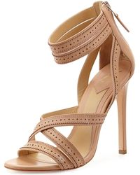B Brian Atwood Lucila Perforated Strappy Leather Sandal - Lyst