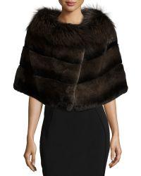 Gorski - Rabbit Fur Shawl W/fox Fur Trim - Lyst