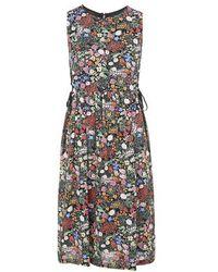 Topshop Woodland Print Tie-Side Midi Dress - Lyst