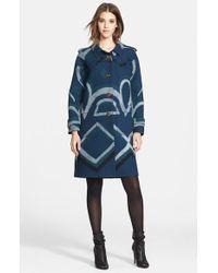 Burberry Prorsum Geometric Cashmere Coat blue - Lyst