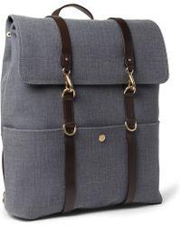 Mismo Leathertrimmed Cottoncanvas Backpack - Blue