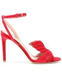 Valentino Butterfly-Detail Velvet Sandals  - Red