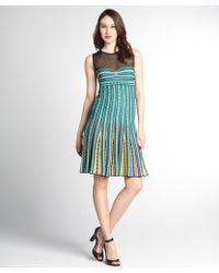 M Missoni Green Crochet Cotton Blend Sheer Panel Sleeveless Dress - Lyst