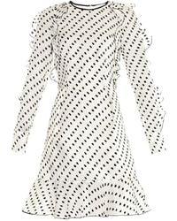 Erdem Liora Flocked Woven Silk Mini Dress - Lyst