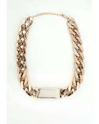 Missguided Chain Id Plate Necklace Gold - Lyst