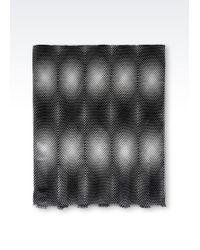 Giorgio Armani Frayed Trim Printed Scarf black - Lyst