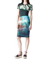 McQ by Alexander McQueen Haze Blue Print Long Bodycon Dress - Lyst