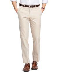 Brooks Brothers Fitzgerald Fit Plain-Front Cotton Dress Trousers beige - Lyst