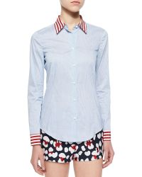 RED Valentino - Micro Striped Voile Shirt & Leopard-Print Brocade Shorts - Lyst