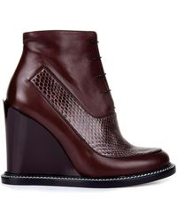 Jil Sander Frida Leather And Snakeskin Boots - Lyst
