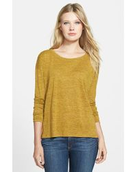 Eileen Fisher Organic Linen Scoop Neck Boxy Top - Lyst