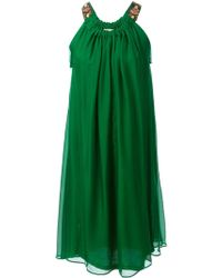 Lanvin Draped Flared Dress - Lyst