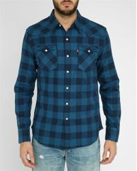 Levi's | Blue Plaid Brushed Cotton Shirt | Lyst