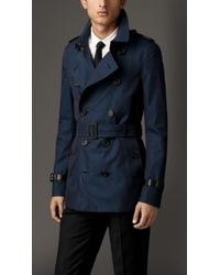 Burberry Leather Detail Cotton Gabardine Trench Coat - Lyst