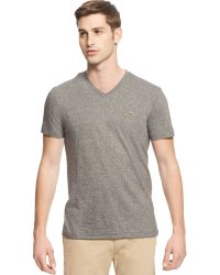 Lacoste Big and Tall Solid V-neck Jersey T-shirt - Lyst
