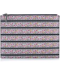 Tabitha Simmons Floral Printed-Leather Zip-Top Pouch multicolor - Lyst
