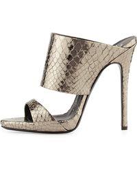Giuseppe Zanotti Metallic Python-embossed Slide Sandal - Lyst