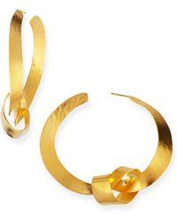 Herve Van Der Straeten Ruban Ribbon Gold Knot Hoop Earrings - Lyst