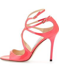 Jimmy Choo Lang Patent Strappy Sandal - Lyst