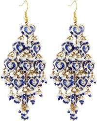 Chamak by Priya Kakkar Diamond-shape Tiered Chandelier Earrings - Blue