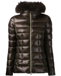 Herno Racoon Fur Collar Jacket - Lyst