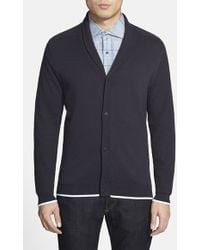 Vince Camuto Tipped Cotton Cardigan - Lyst