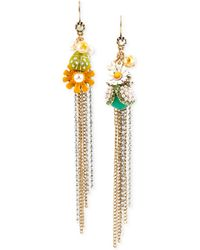 Betsey Johnson Gold-Tone Daisy And Bug Mismatch Linear Earrings - Lyst
