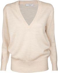 TOME Ecru V Neck Sweater - Lyst